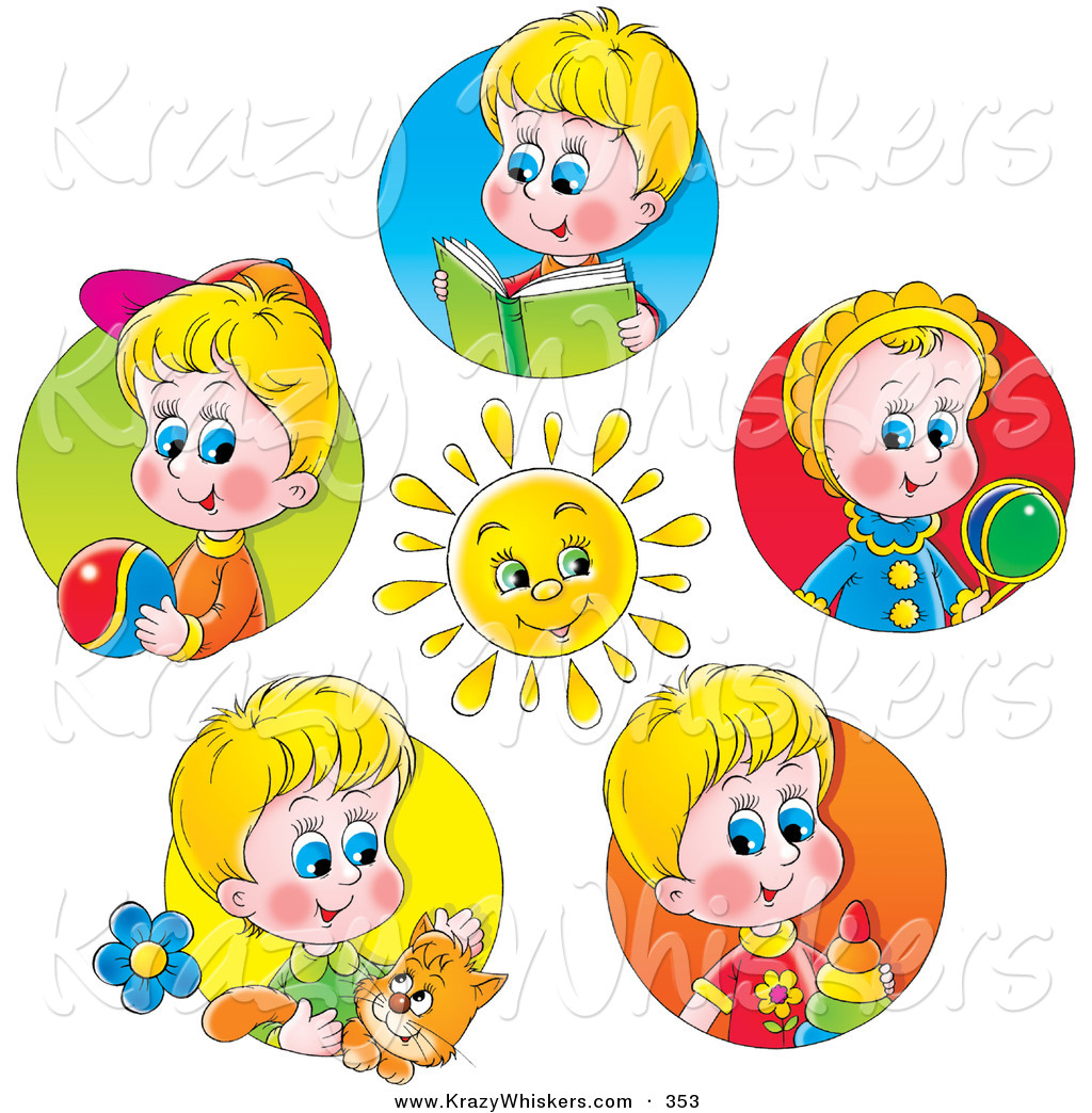 Little Boy Toys Clip Art : Critter clipart of a bright sun surrounded by scenes