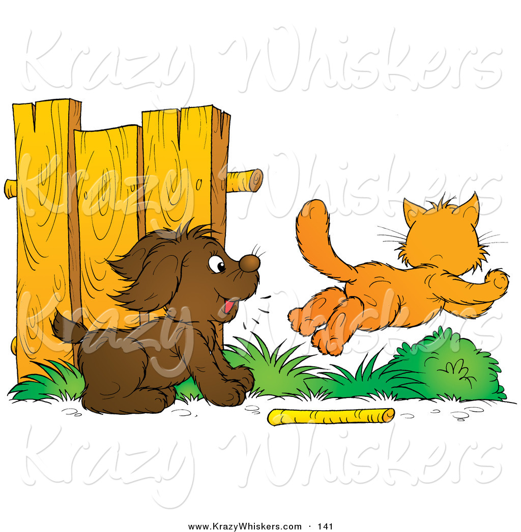 Dog Chasing Cat Clip Art Brown Dog Distracted from
