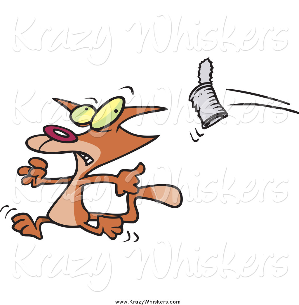 Critter Clipart of a Cartoon Can Flying at a Brown Cat by Ron ...
