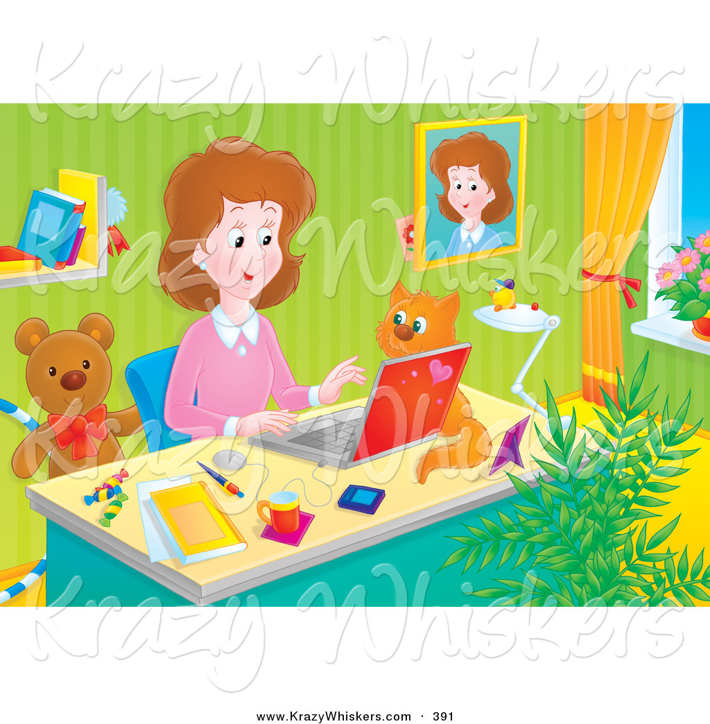 ... Stay at Home Mom Working at Her Desk on a Laptop in Her Home Office, a