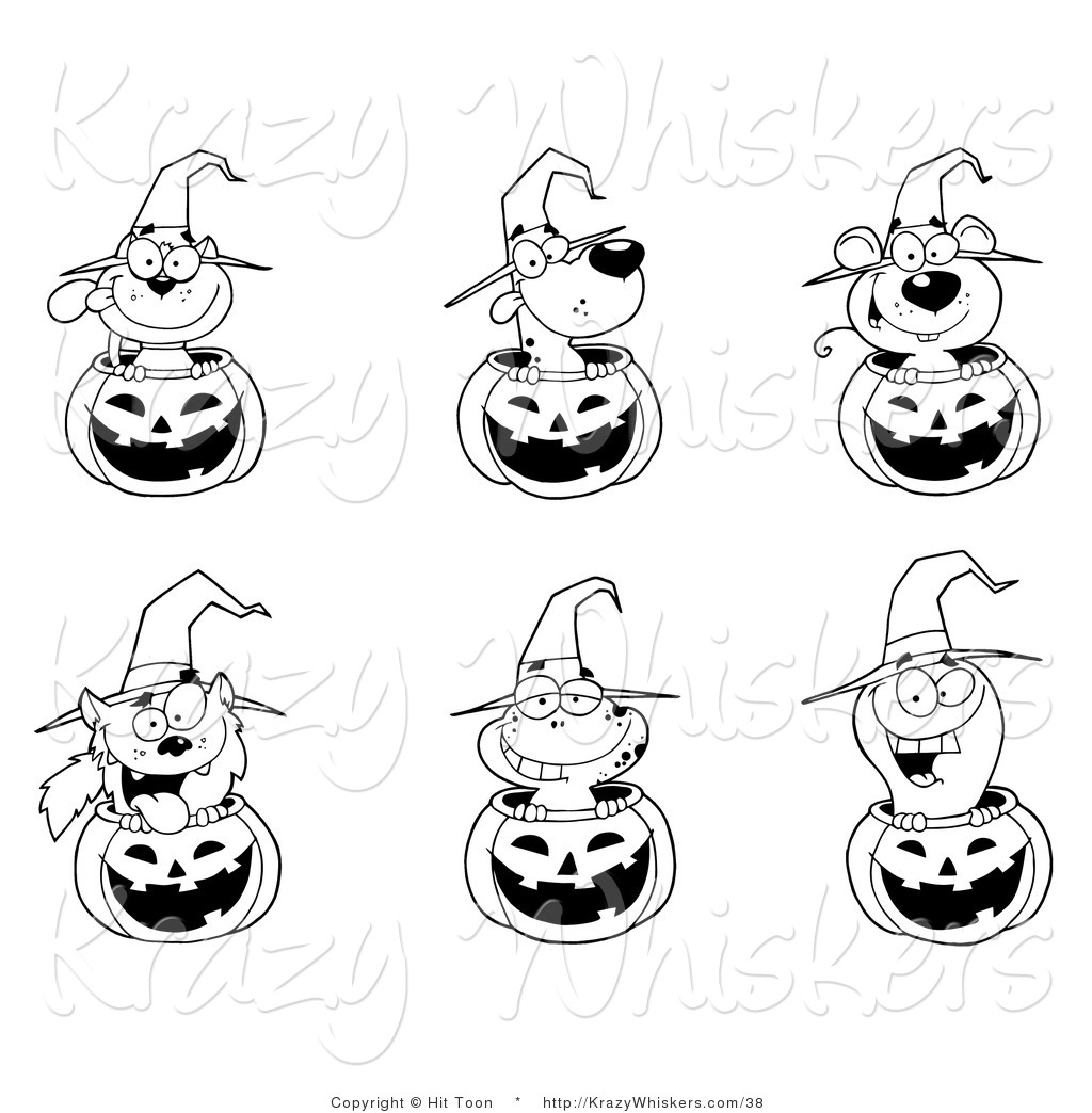critter clipart of a coloring page of animals in halloween