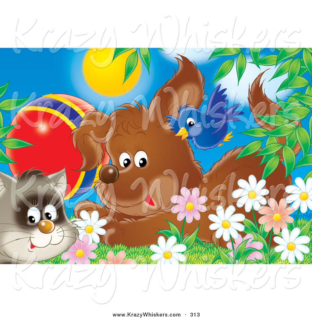 Royalty free stock animal designs of flowers cute blue bird flying over a puppy dog and a cat with a ball in a field of spring daisy flowers izmirmasajfo Gallery