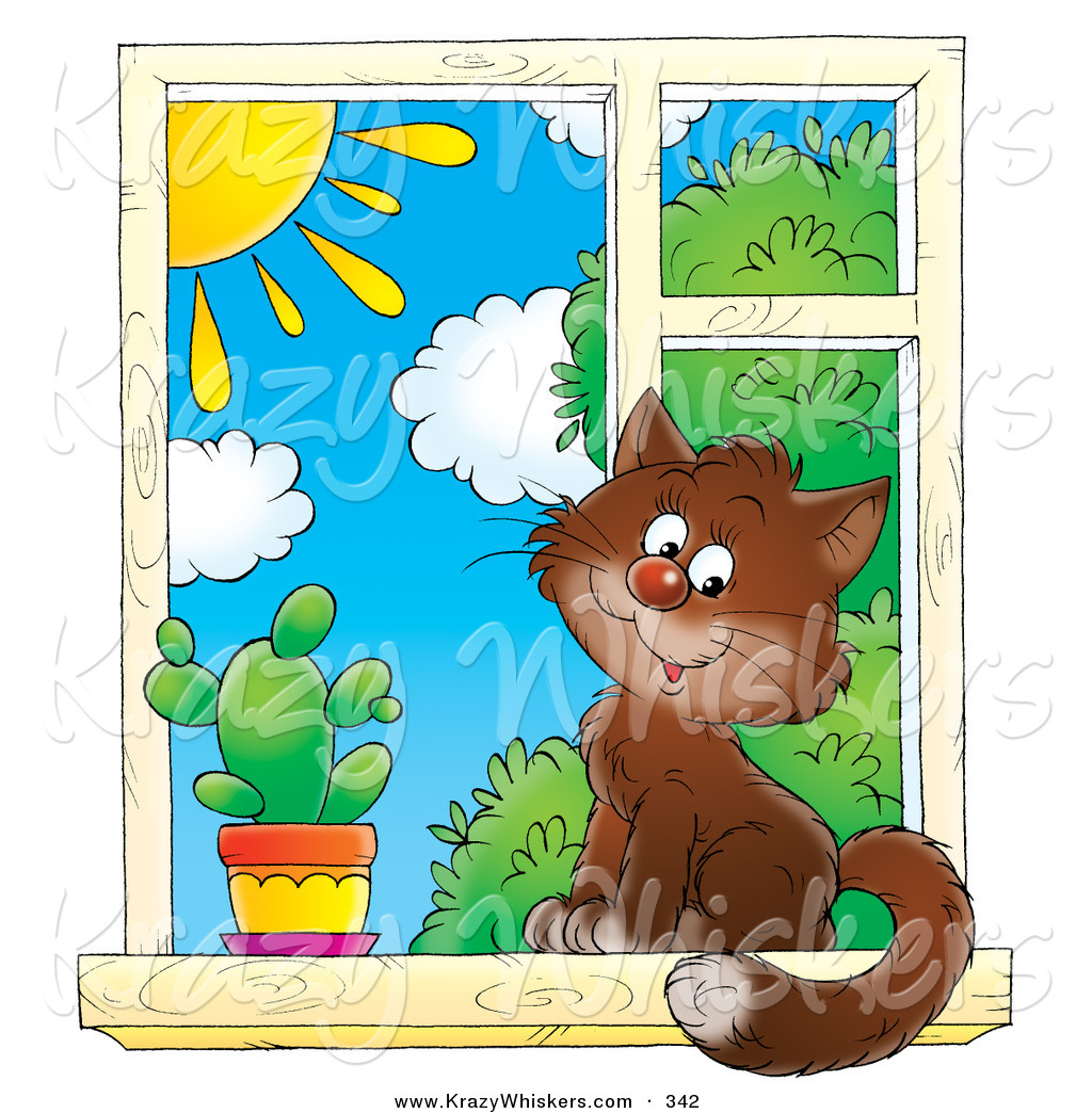 Critter Clipart of a Cute Brown House Cat Sitting by a Spiky ... for Outside Window Clipart  49jwn