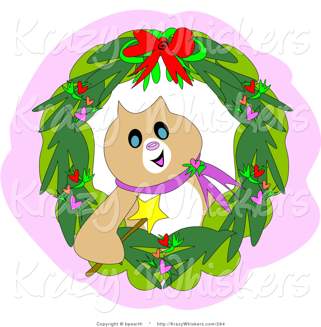 Critter Clipart of a Festive Brown Christmas Cat Holding a Magic ...
