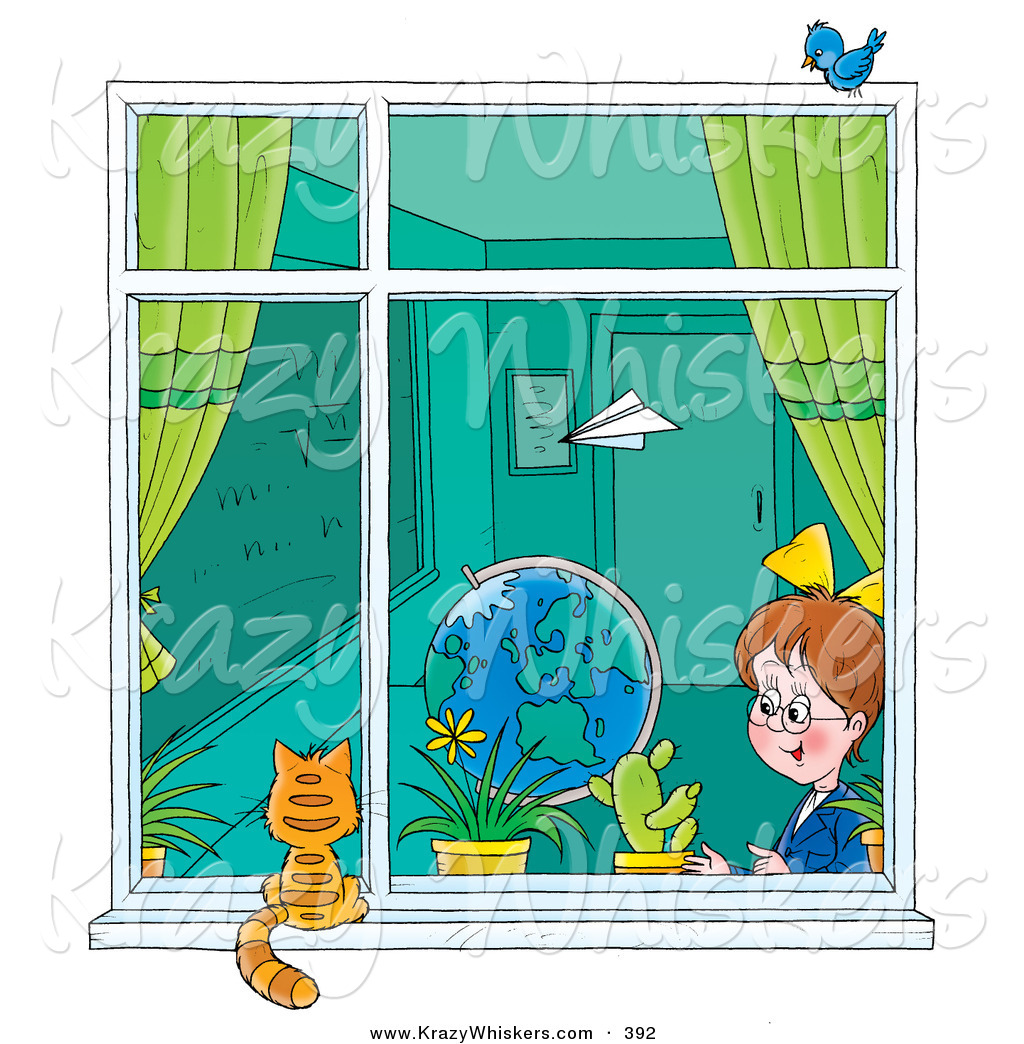 school window clipart. Paper Plane Flying Past A School Girl Sitting In Classroom As She Looks Out Window At Cat Clipart