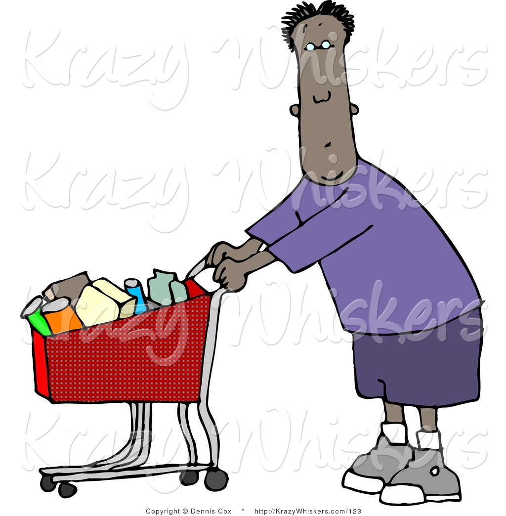 Critter Clipart Of An Ethnic Man Going Grocery Shopping At His Local Food Store