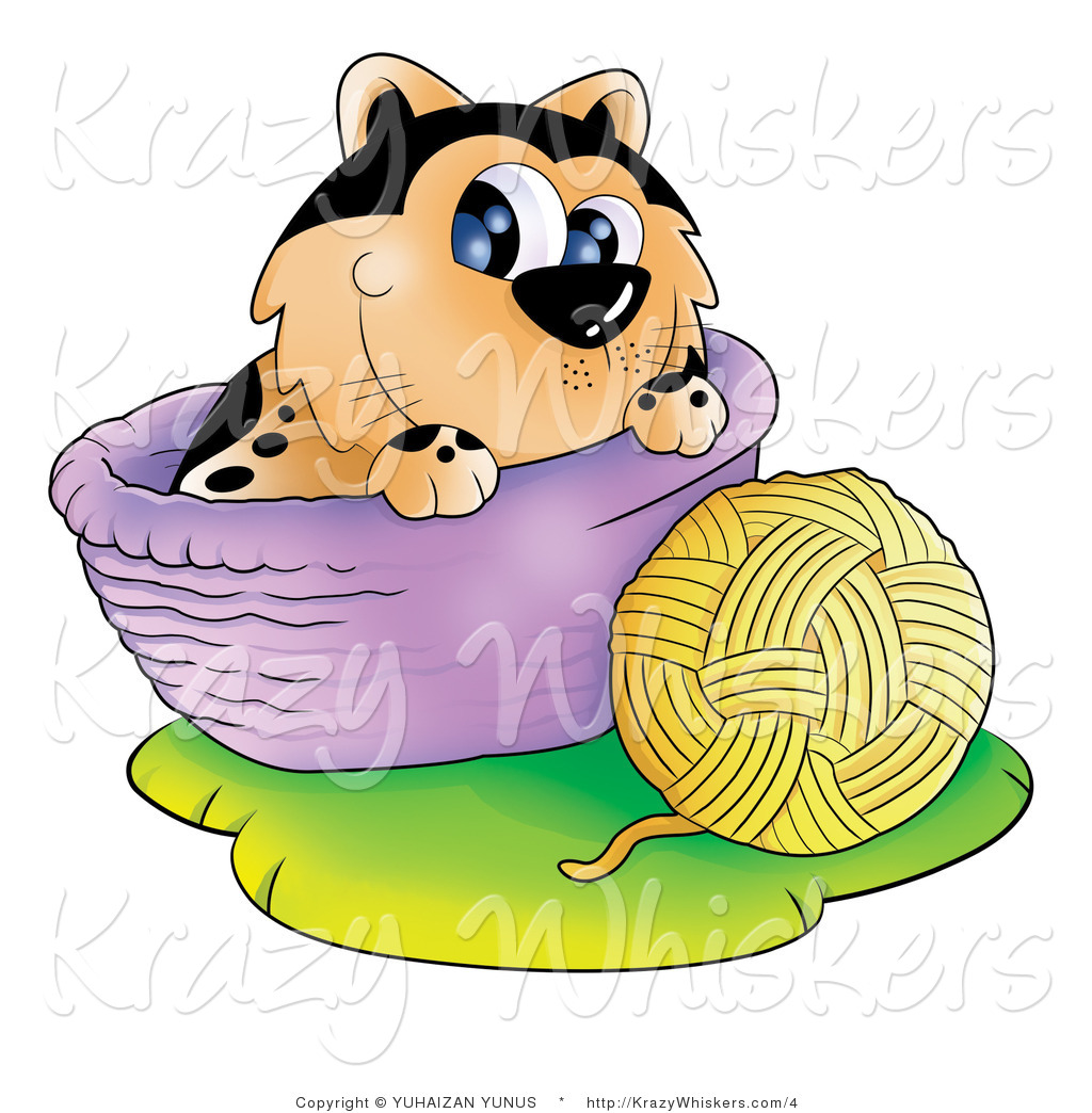 Cat Basket Clipart : Kitty clipart of a cat with ball yarn and basket