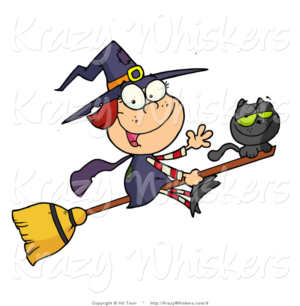vector kitty clipart of a cute witch and black cat on a broomstick rh krazywhiskers com cute little witch clipart cute witch face clipart