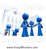 Critter Clipart of a 3d Blue Family and Pets in Front of Their Home by Leo Blanchette