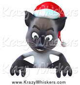 Critter Clipart of a 3d Christmas Siamese Cat Looking down at a Sign by Julos