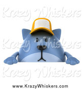 Critter Clipart of a 3d Chubby Blue Cat Wearing a Baseball Cap over a Sign by Julos