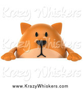 Critter Clipart of a 3d Chubby Ginger Cat over a Sign by Julos