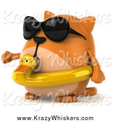 Critter Clipart of a 3d Chubby Orange Cat Wearing an Inner Tube and Shades and Presenting to the Left by Julos