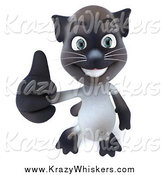 Critter Clipart of a 3d Siamese Cat Holding His Thumb up by Julos