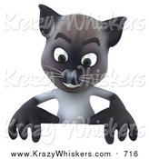 Critter Clipart of a 3d Siamese Cat over a Blank Sign by Julos