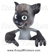 Critter Clipart of a 3d Siamese Cat Pointing down at a Sign by Julos