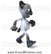 Critter Clipart of a 3d Siamese Cat Walking Right on His Two Hind Legs by Julos