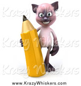 Critter Clipart of a 3d Siamese Cat with a Giant Pencil by Julos