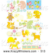 Critter Clipart of a Array of Pastel Animals, Flowers and a Train by Alex Bannykh