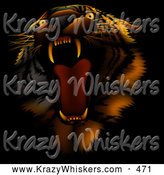 September 26th, 2013: Critter Clipart of a Bad Tempered Tiger Roaring, on a Dark Background with Orange Lighting by Dero