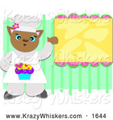 Critter Clipart of a Baker Cat Presenting a Menu by Bpearth