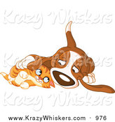 Critter Clipart of a Basset Hound Dog and Ginger Kitten Cuddling by Yayayoyo