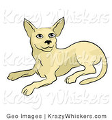 Critter Clipart of a Beige Cat Laying down and Looking up by AtStockIllustration