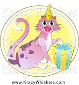 Critter Clipart of a Birthday Cat Wearing a Party Hat by Prawny