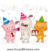 Critter Clipart of a Birthday Party Animals with Cake by BNP Design Studio