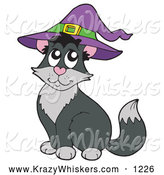 Critter Clipart of a Black and Gray Halloween Cat Wearing a Witch Hat by Visekart