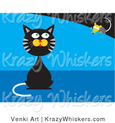 Critter Clipart of a Black and Gray Tabby Cat Sitting and Pretending He Doesn't Know a Mouse Is Behind Him While the Mouse Creeps Forward by Venki Art