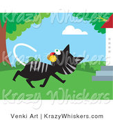 Critter Clipart of a Black and Gray Tabby Cat Walking past a Tree and Turning Its Head to Watch Birds in the Branches by Venki Art