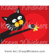 Critter Clipart of a Black and Gray Tom Cat with Fast Reflexes, Reaching out and Grasping a Scared Mouse in His Paw by Venki Art