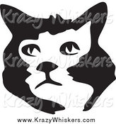 Critter Clipart of a Black and White Brush Stroke Styled Cat Face by Prawny