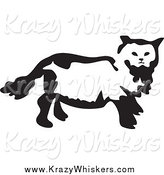 Critter Clipart of a Black and White Cat by Prawny