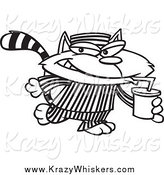 Critter Clipart of a Black and White Cat Con Drinking a Soda by Toonaday