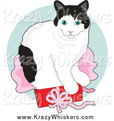 Critter Clipart of a Black and White Cat Sitting in a Gift Box over a Green Circle by Maria Bell