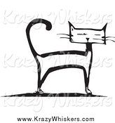 Critter Clipart of a Black and White Cat Standing by Xunantunich