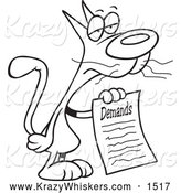 Critter Clipart of a Black and White Cat with a List of Demands by Toonaday