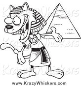 Critter Clipart of a Black and White Egyptian Cat Presenting a Pyramid by Toonaday
