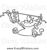 Critter Clipart of a Black and White Excited Cat Opening a Christmas Gift by Toonaday