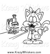 Critter Clipart of a Black and White Female Cat Scientist by Toonaday