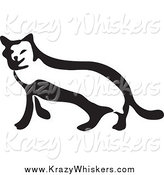 Critter Clipart of a Black and White Sneaky Cat by Prawny