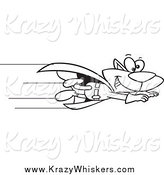 Critter Clipart of a Black and White Super Cat Flying by Toonaday