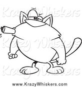 Critter Clipart of a Black and White Tough Cat Smoking a Cigar by Toonaday