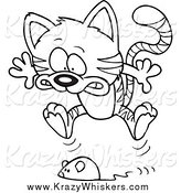 Critter Clipart of a Black and White Toy Mouse Frightening a Tabby Cat by Toonaday