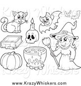 Critter Clipart of a Black and White Witch and Halloween Items by Visekart