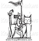 Critter Clipart of a Black and White Woodcut Girl Riding a Giant Cat by Xunantunich