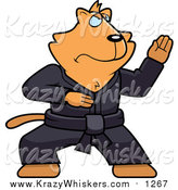 Critter Clipart of a Black Belt Ginger Karate Cat by Cory Thoman