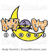 Critter Clipart of a Black Cat and a Yellow Crescent Moon on an Alley Cats Lounge Sign by Andy Nortnik